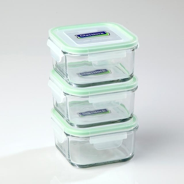Go Green GlassLock 17 oz. Square Food Storage Set by Kinetic