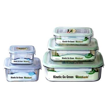 Go Green GlassLock 5 Container Food Storage Set by Kinetic