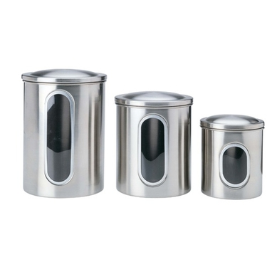 Stainless Steel Window Canisters by Polder - Set of 3