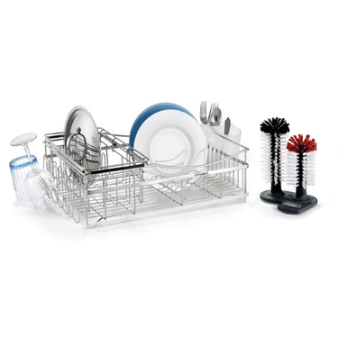 Polder Expandable Dish Rack with Glass Washer