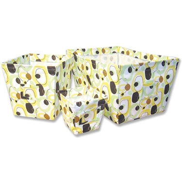 Giggles Print 3-Piece Fabric Storage Bin Set