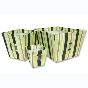 Giggles Stripe 3-Piece Fabric Storage Bins