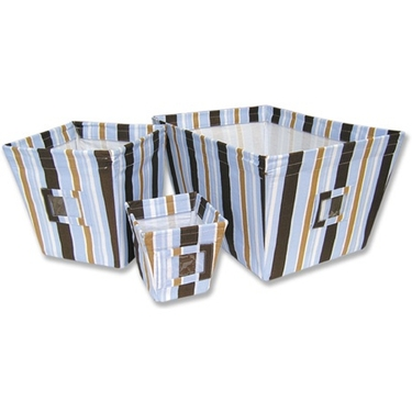 Max Stripe 3-Piece Fabric Storage Bin Set