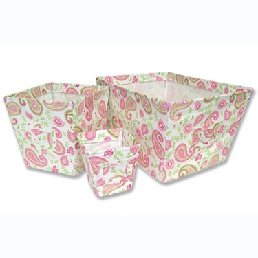 Paisley Print 3-Piece Fabric Storage Bins