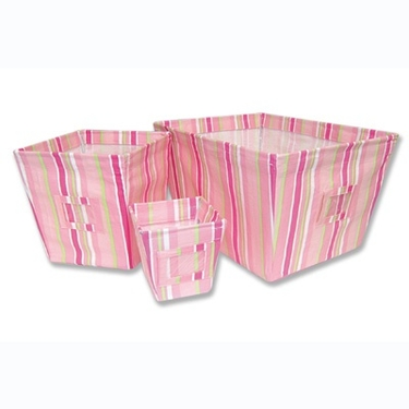 Pink Stripe 3-Piece Fabric Storage Bins