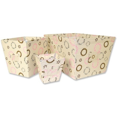 Sweet Safari Pink 3-Piece Fabric Storage Bin Set
