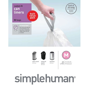 Sure-Fit Trash Can Liners:<br> Size M by simplehuman