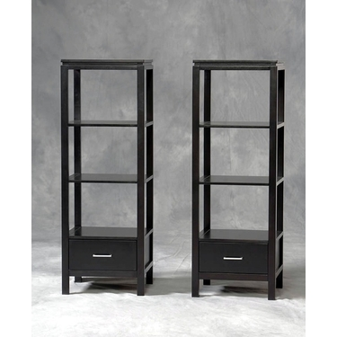 Linon Sutton Black TV Media Tower: Contemporary Finish, Three Shelves