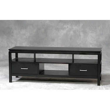 Linon Sutton Black TV Center: Contemporary Finish, Silver Drawer Pulls