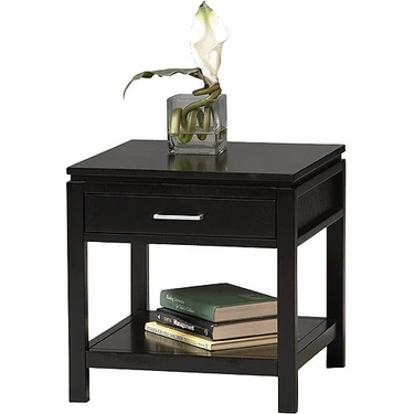Linon Sutton Black End Table - Wood with Chrome Hardware