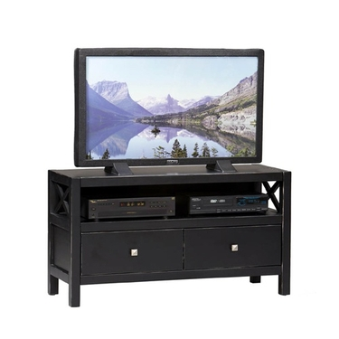 Linon Antique Black TV Stand Media Center: Two Drawers, Anna Collection