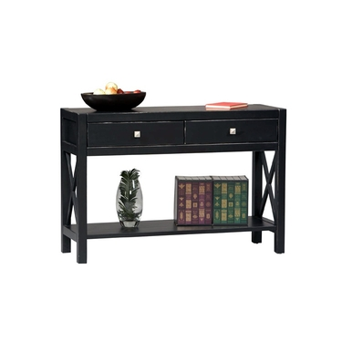 Linon Antique Black Console Table: Two Drawers, Anna Collection