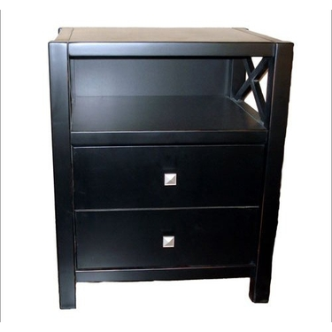 Linon Antique Black End Table Two Drawers Anna Collection
