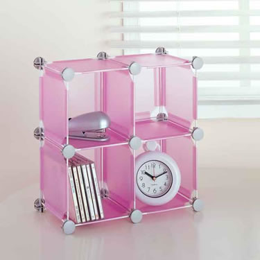 Transparent Pink Storage Cubes (Set of 4)