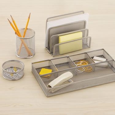 4 Piece Silver Mesh Desktop Accessory Set