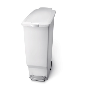 simplehuman® Plastic Slim Step Can: White