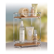 Two shelf bamboo and chrome organizer