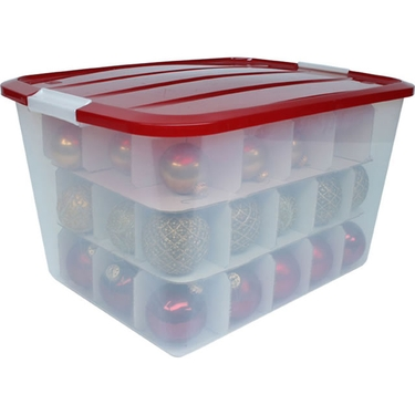 Holiday ornament storage box 45 count divided ornament for Xmas decoration storage boxes