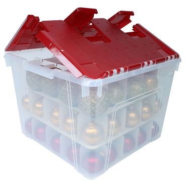 Wing-Lid Christmas Ornament Storage Box with Dividers