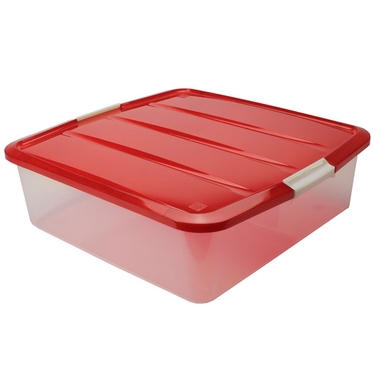 Plastic Wreath Storage Box, Red
