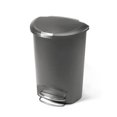 Grey Plastic Semi-Round Step Can from simplehuman