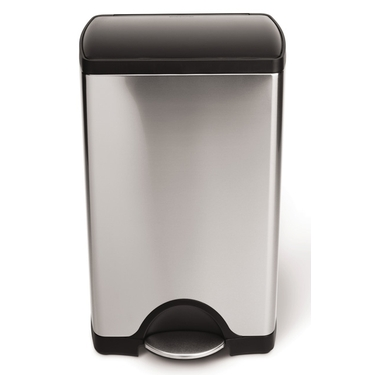 Stainless Steel Rectangular Step Can with Black Lid by simplehuman®