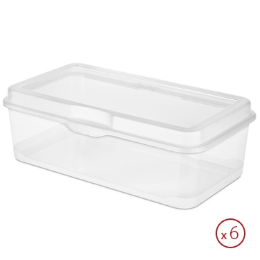 Sterilite Large Flip Top Storage Box - case of 6