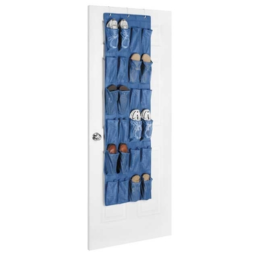 Blue Mesh Over the Door Shoe Organizer