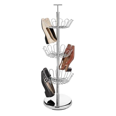 Revolving Shoe Racks- Chrome Shoe Spinner- 18 Pairs by Whitmor