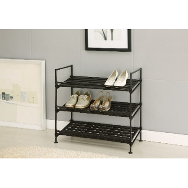 Ebonize 3 Tier Shoe Rack- Organize It All, 3 Shelf Metal Shoe Rack