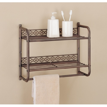 Morocco Collection 2 Tier Shelf with Towel Bar by Organize It All