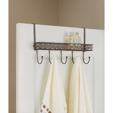 Morocco Collection Overdoor Organizing Hooks with Tray by Organize It All
