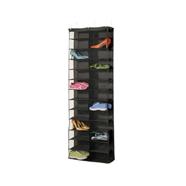 Black 26 Pocket Over the Door Shoe Organizer
