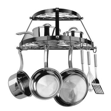 Black Enameled Double Shelf Wall Pot Rack