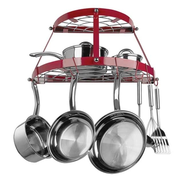 Red Enameled Double Shelf Wall Pot Rack by Range Kleen