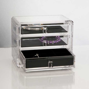 Deluxe 3-Drawer Jewelry Chest by U.S. Acrylic
