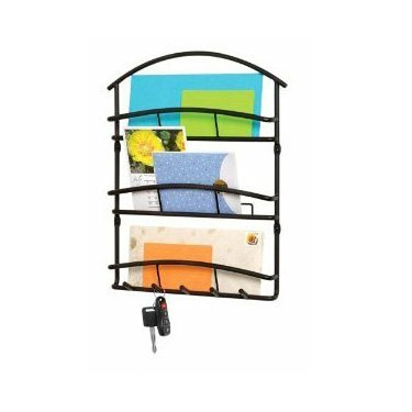 Euro Wall Mount Letter Holder in Black