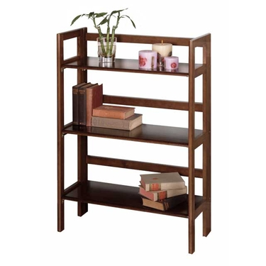 3-Tier Folding and Stackable Shelf in Antique Walnut Finish by Winsome Wood