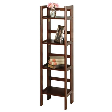 4-Tier Folding Shelf in Antique Walnut Finish by Winsome Wood