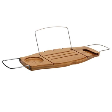 Aquala Bamboo & Chrome Bathtub Caddy