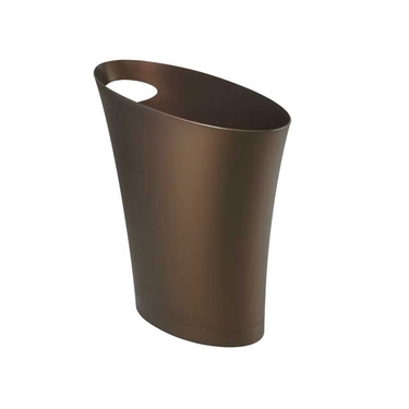 Skinny PolyPropylene Waste Can in Bronze