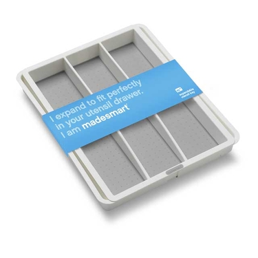 Expandable White Utensil Tray by Made Smart