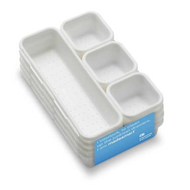 8 Piece Interlocking White Bin Pack by Made Smart