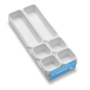 9 Piece Interlocking White Bin Pack by Made Smart
