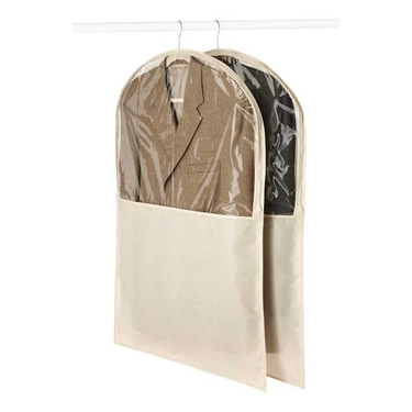 French Vanilla 2 Pack Garment Bags - Whitmor