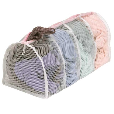 White Polyester Hosiery Wash Bag - 4 Compartments