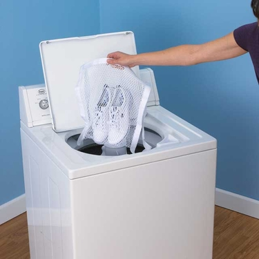 White Polyester All-in 1 Washer/Dryer Sneaker Bag by Household Essentials