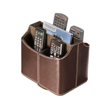 Brown Faux Leather Spinning Remote Control Holder