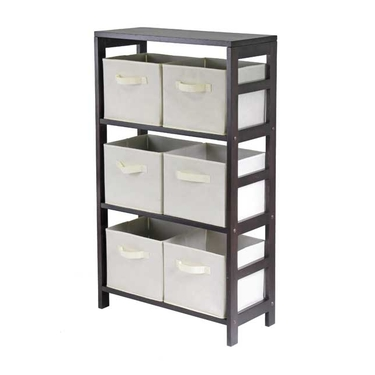 3 Tier Storage Shelf with Beige Fabric Baskets