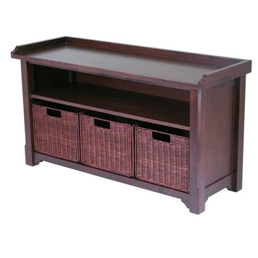 Milan Bench with Storage Shelf and 3 Small Baskets by Winsome Wood